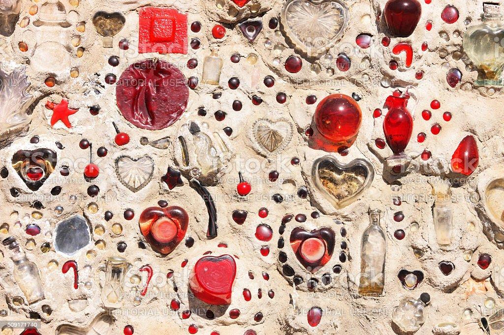 Glass Concrete Retaining Wall Bisbee Arizona stock photo