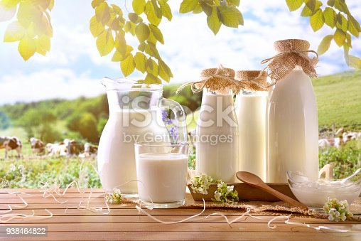 istock Glass containers filled with cow milk in a meadow 938464822