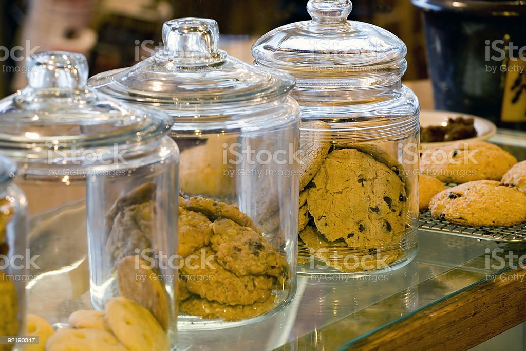 glass cookie jars in a coffee shop stock photo