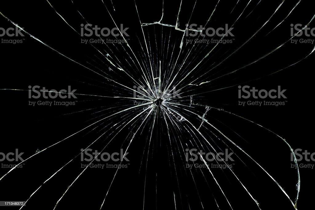 Glass cracked isolated on black stock photo