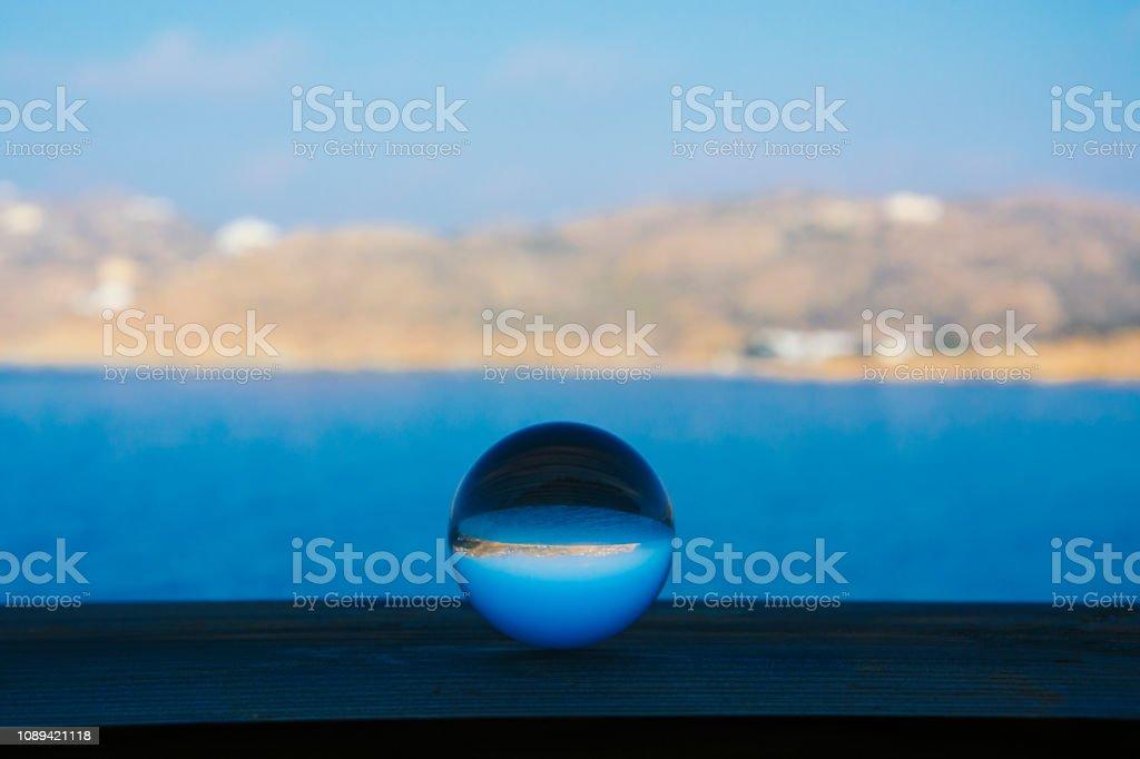 Glass Crystal Ball in Beach stock photo