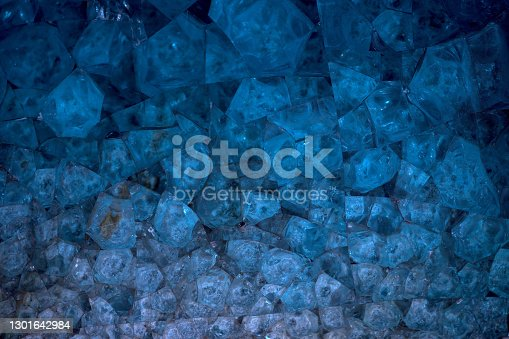 Glass crystals in a blue glassboard