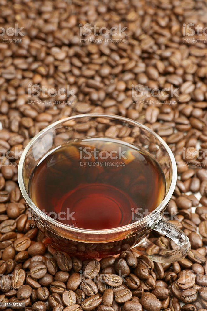 Glass Cup of Black Coffee royalty-free stock photo