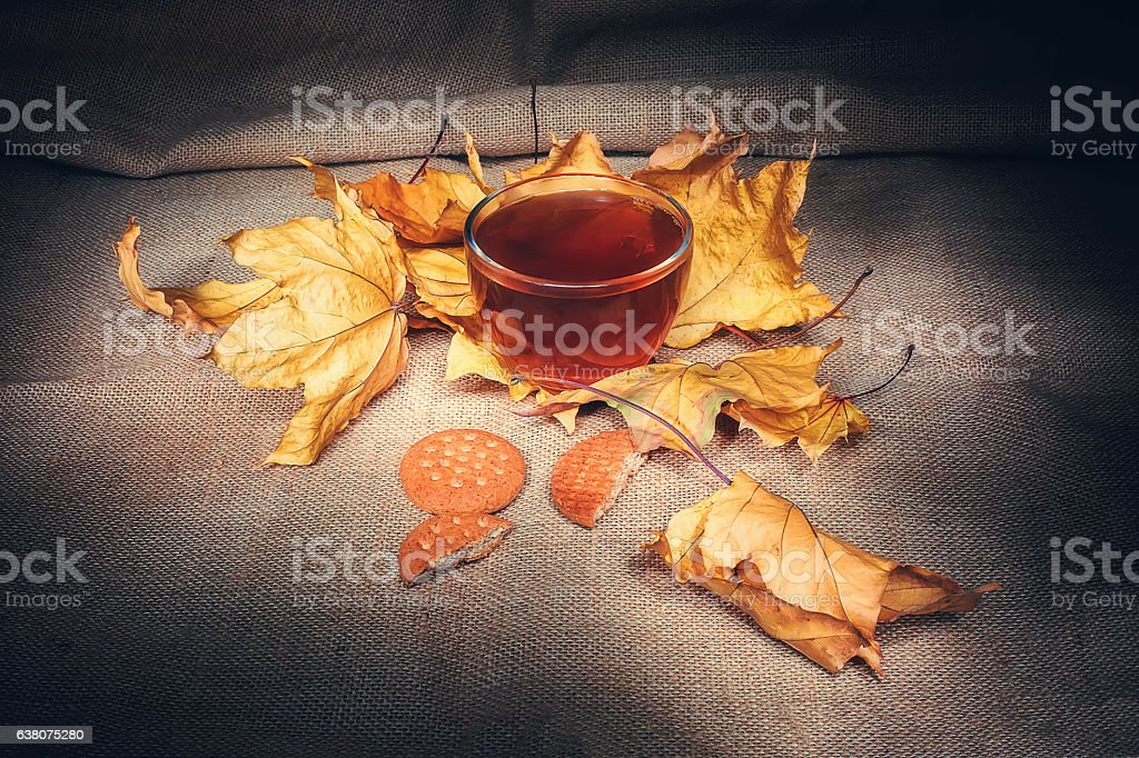 Glass cup of hot tea with cookies vintage syle stock photo