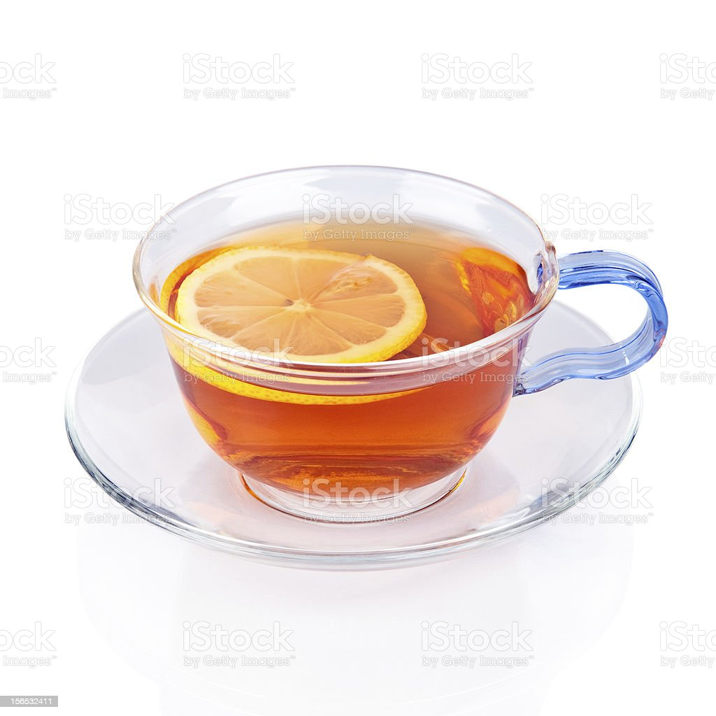 Glass cup of tea with lemon slice. royalty-free stock photo