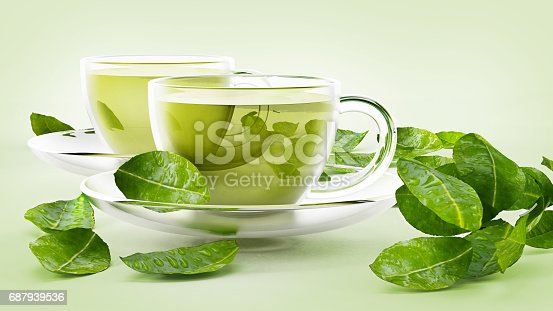 istock Glass cups with green tea and tea leaves isolated on white 687939536