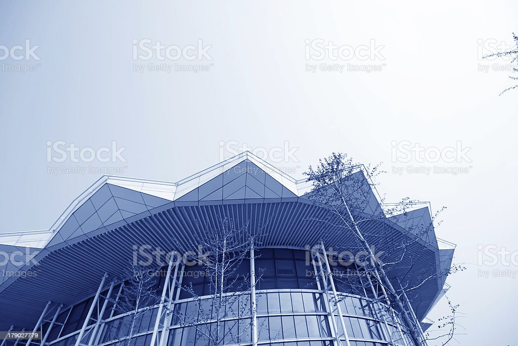 glass curtain wall in the mansion royalty-free stock photo