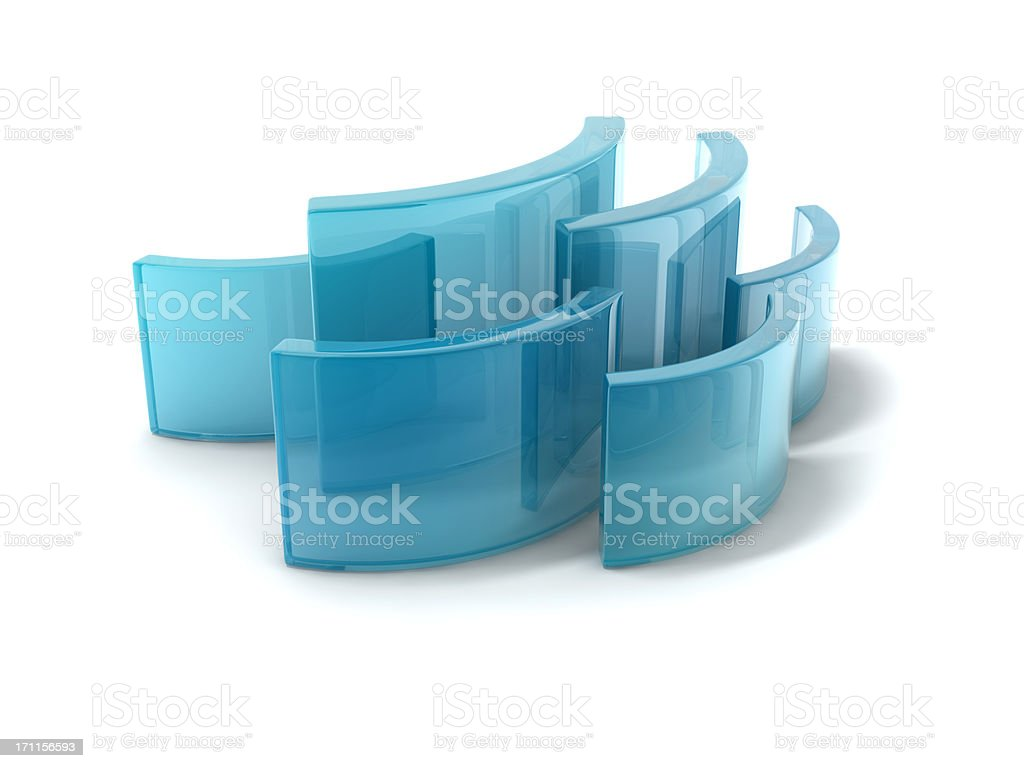 glass curving rectangles stock photo
