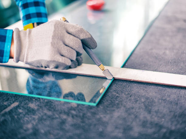 glass cutting - glass stock photos and pictures