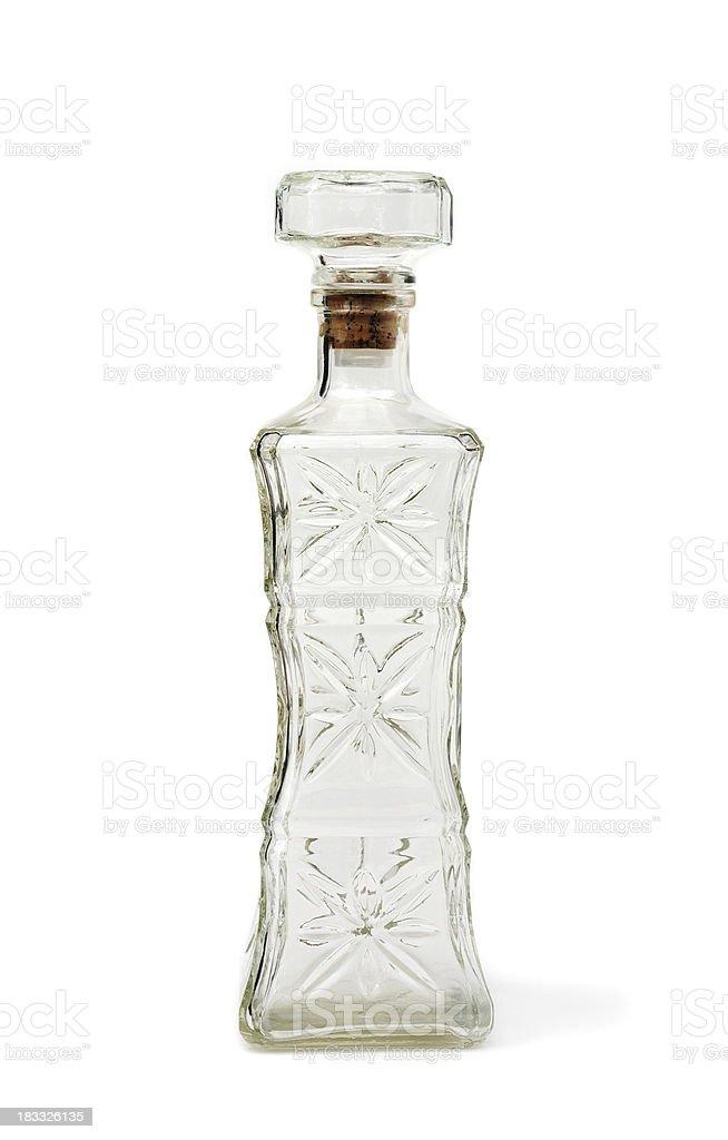 Glass decanter liquor bottle stock photo