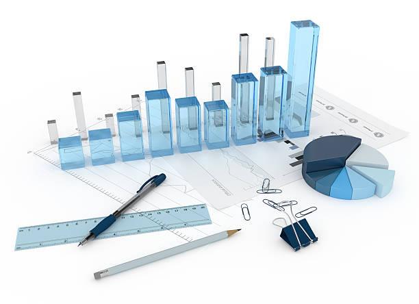 3 d szkła wykres z wykresów i obiektów - przyrząd pomiarowy narzędzie do pracy zdjęcia i obrazy z banku zdjęć