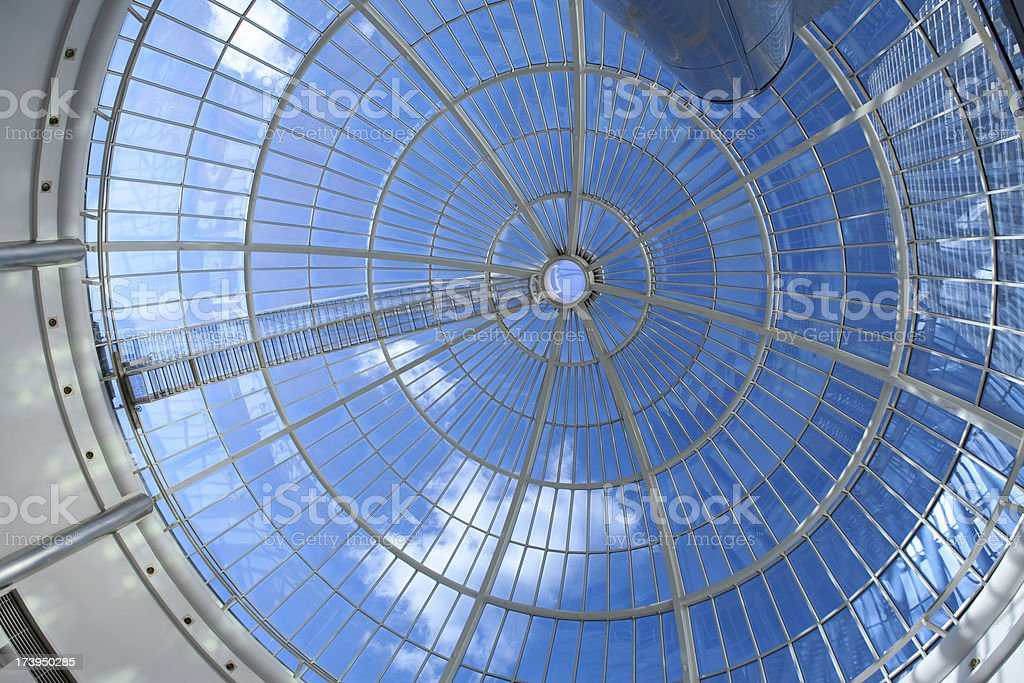 Glass dome and skyscraper royalty-free stock photo