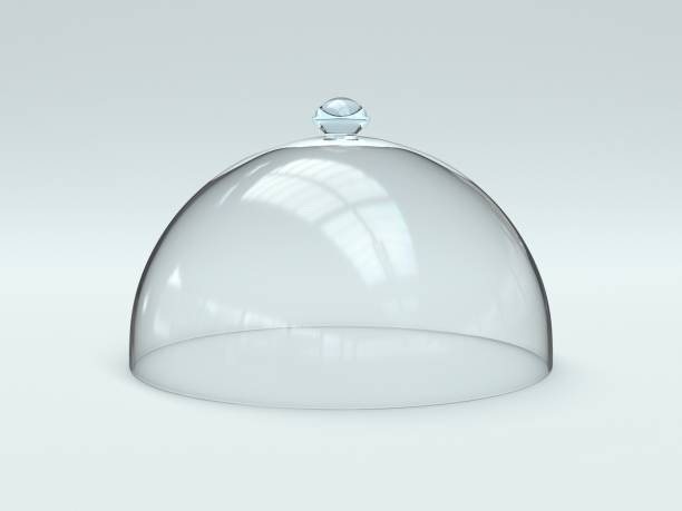 Glass dome isolated on white background stock photo