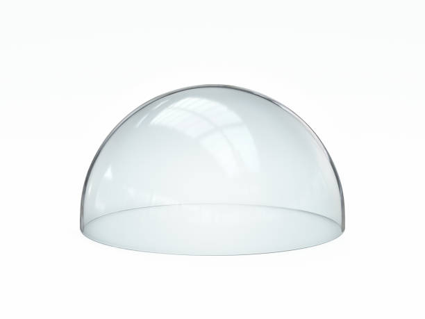 Glass dome isolated on white background Glass dome isolated on white background, 3d rendering illustration shielding stock pictures, royalty-free photos & images