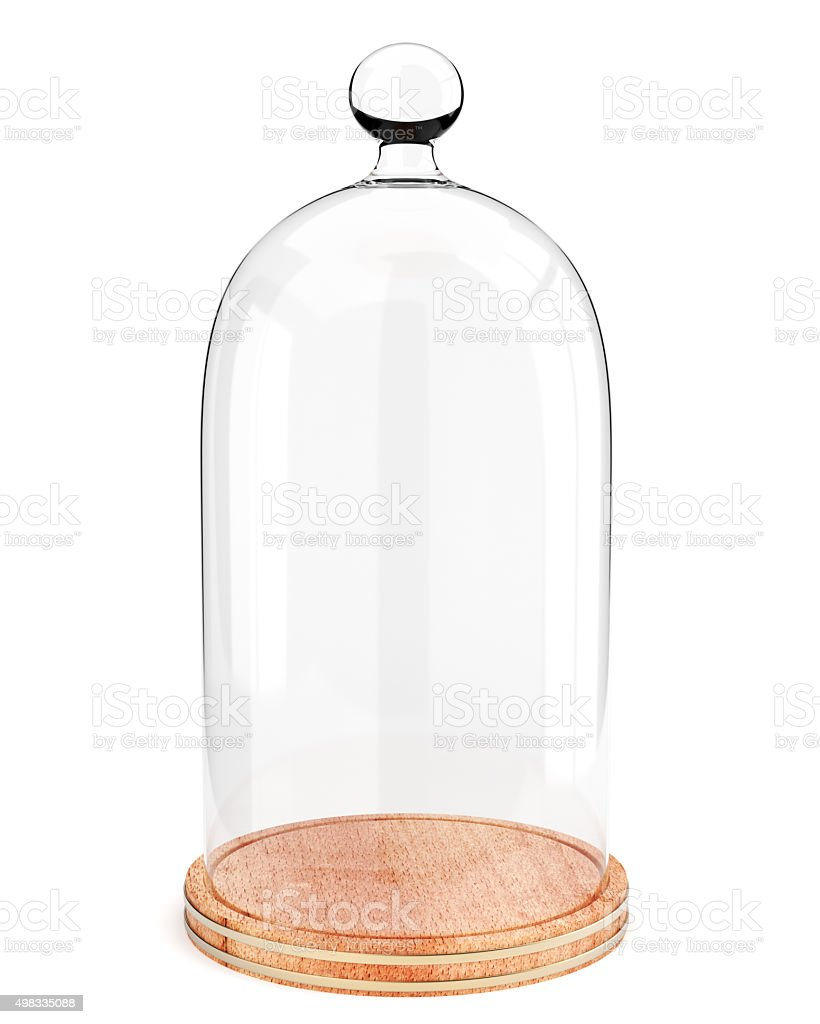 Glass dome on the wooden plate isolated on white background stock photo