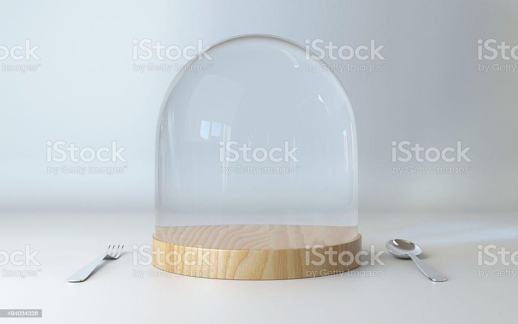 Vassoi In Legno Con Vetro : Cupola di vetro sul vassoio di legno con cucchiaio e forchetta