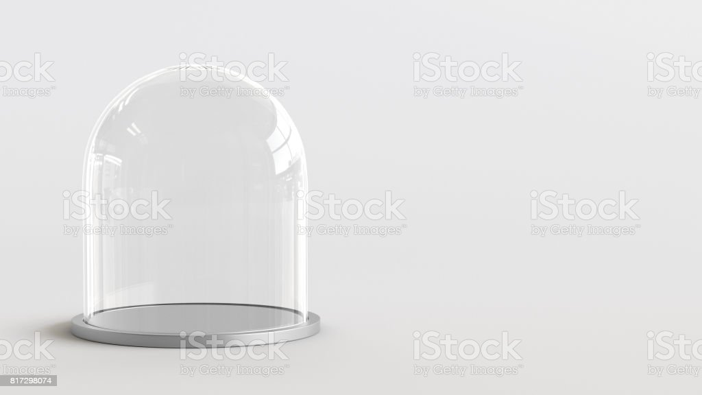 Glass dome with silver tray on white background. 3D rendering. stock photo
