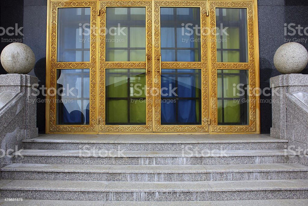 glass doors with gold frame stock photo
