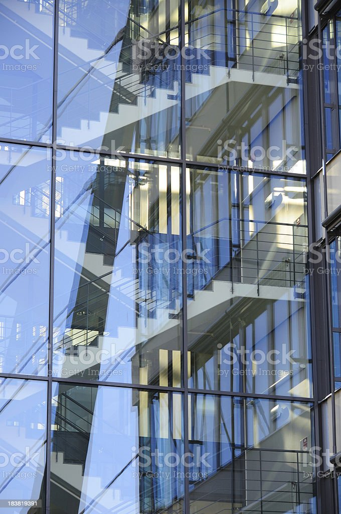 Glass facade building seen from below stock photo