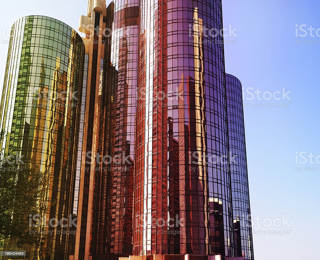 Glass facade finance building in sunset royalty-free stock photo