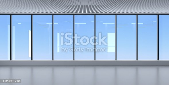 3D illustration. Glass facade of the skyscraper interior. A modern room with panoramic window and sky view. Interior concept. Architectural background.