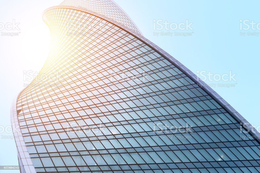 Glass facades of modern skyscrapers at business district royalty-free stock photo