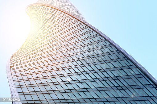 istock Glass facades of modern skyscrapers at business district 922894240