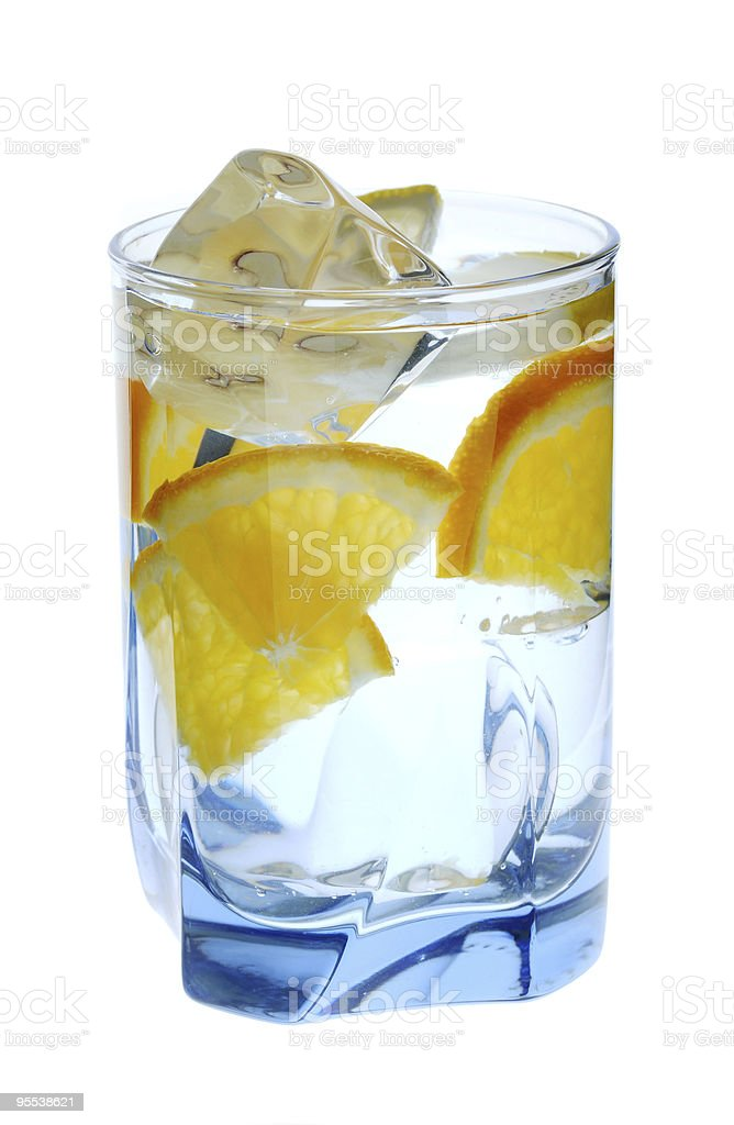 Glass filled with ice and sparkling water royalty-free stock photo
