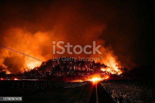 Glass fire captured in Calistoga California (Napa Valley)