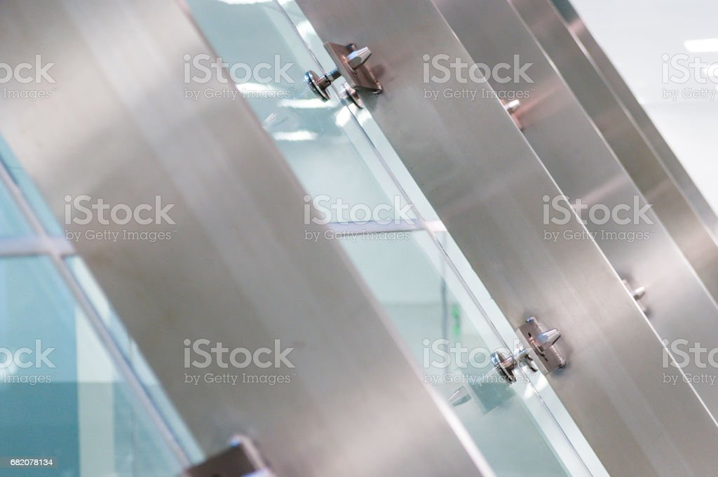 Glass fixings stock photo