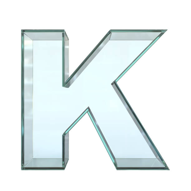 Glass font 3d rendering, letter K Glass font 3d rendering, letter K isolated illustration on white background k icon stock pictures, royalty-free photos & images