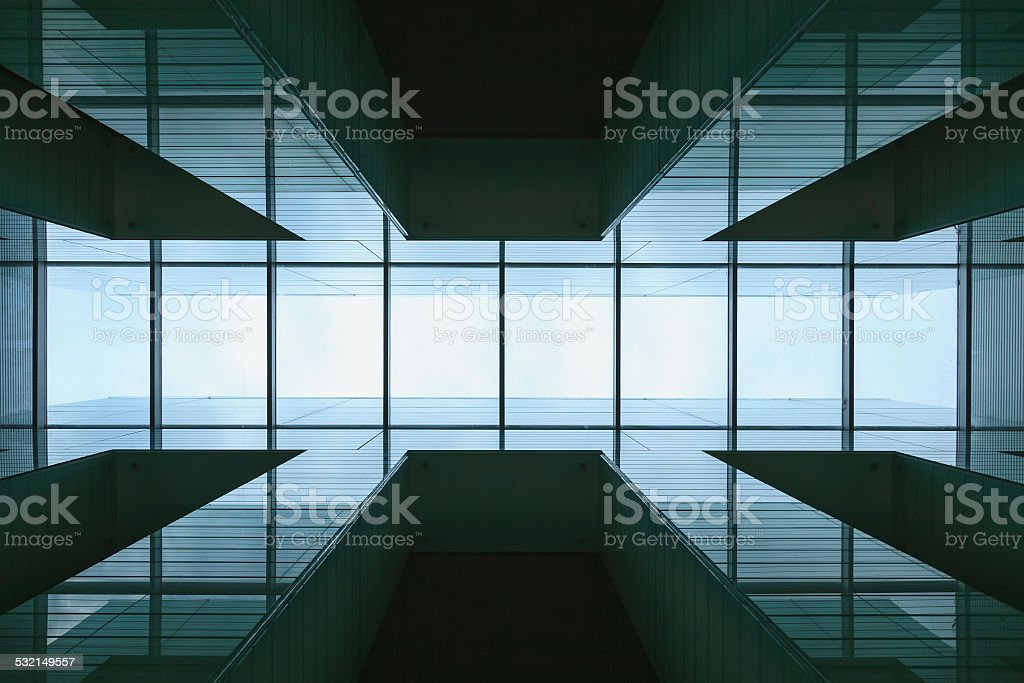 Glass frame detail of Modern architecture stock photo