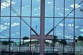 Glass front of railway station in Łódź