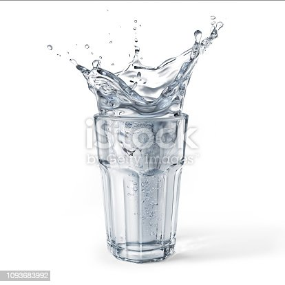 Glass full of water with splash. Isolated on white background with some drop shadow. . Clipping path included.