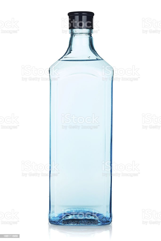 Glass gin bottle stock photo