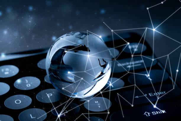 Glass Globalnetwork für Online-Business & Zukunftstechnologiekonzept – Foto