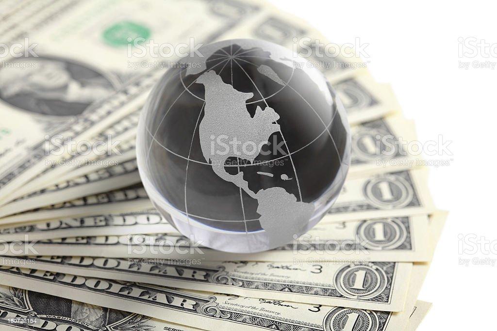 glass globe and money royalty-free stock photo