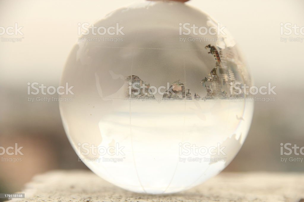 Glass Globe focusing Asia royalty-free stock photo