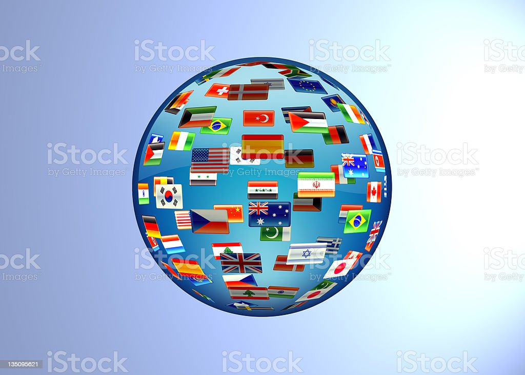 Glass globe of flags stock photo