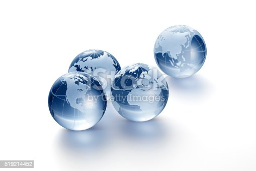 Clear glass globe on white background
