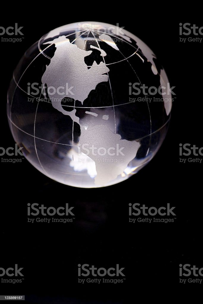 Glass globe showing Noth and South America royalty-free stock photo
