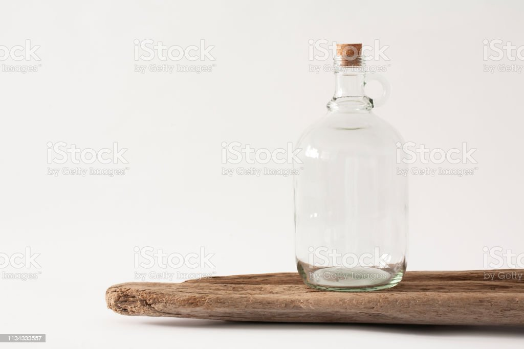 Glass growler bottle mockup stock photo
