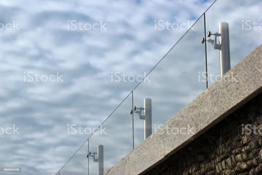 Glass handrails on a roof royalty-free stock photo