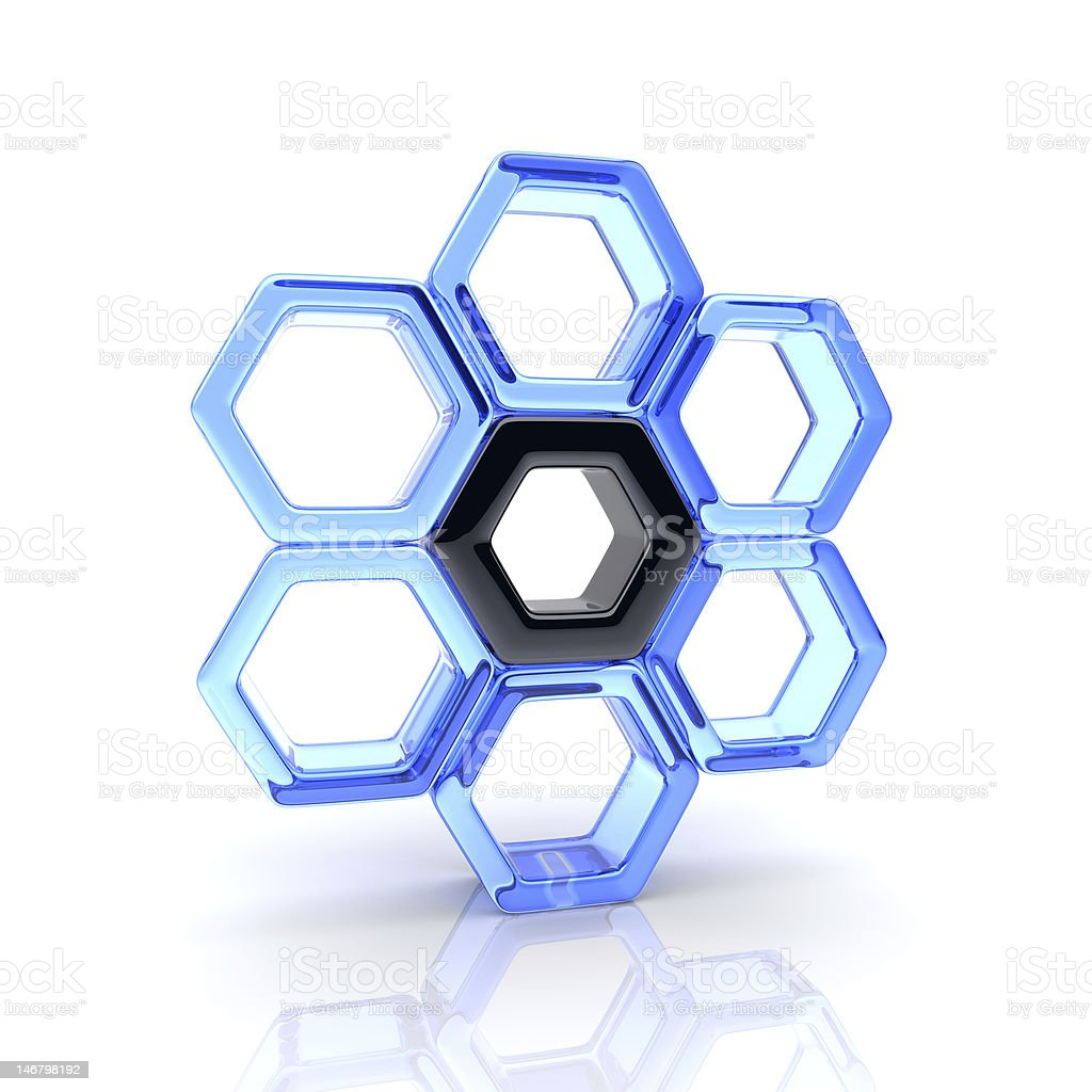 Glass hexagons and black royalty-free stock photo