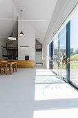 Glass wall in modern open plan project house