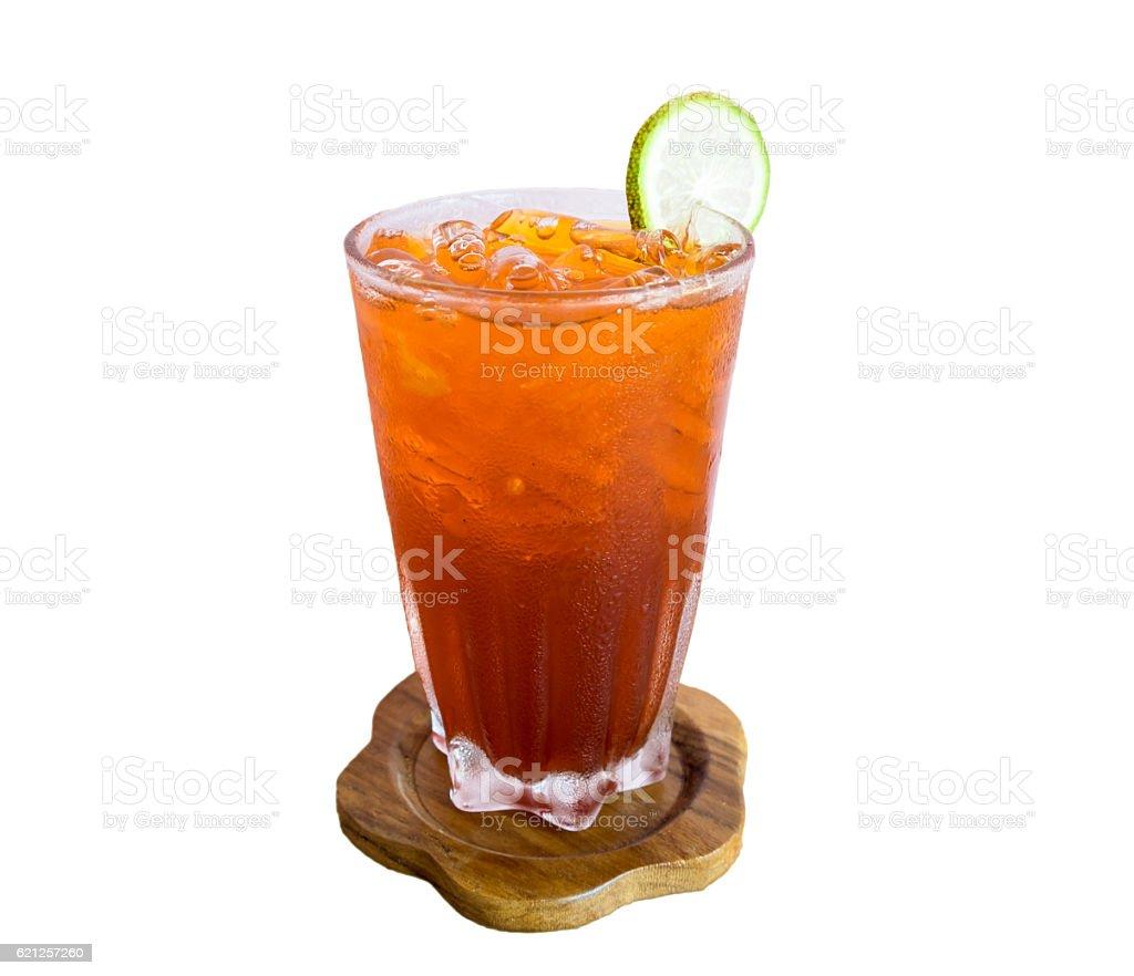 Glass ice lemon tea antique drink stock photo