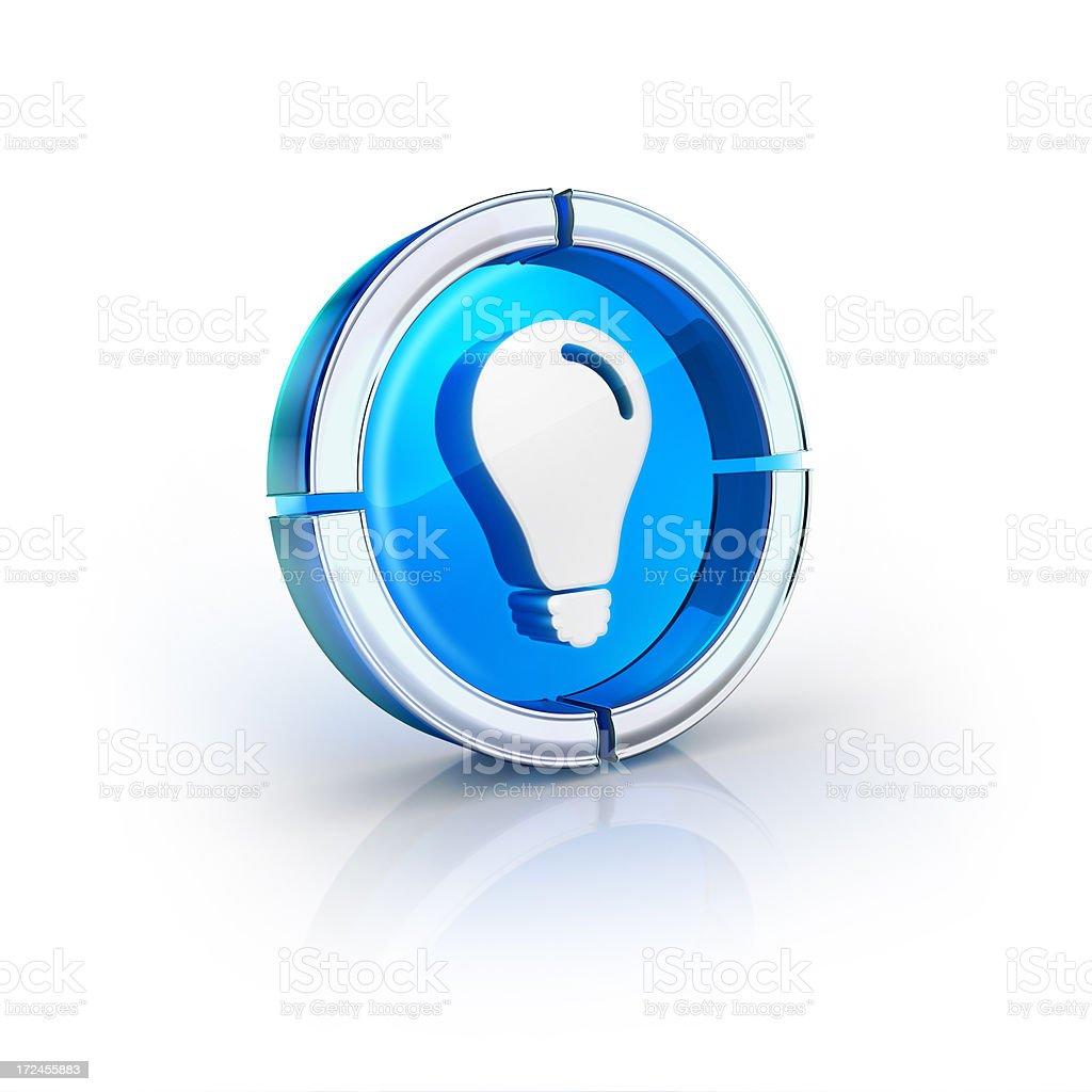 glass idea icon of lamp or bulb Symbol stock photo
