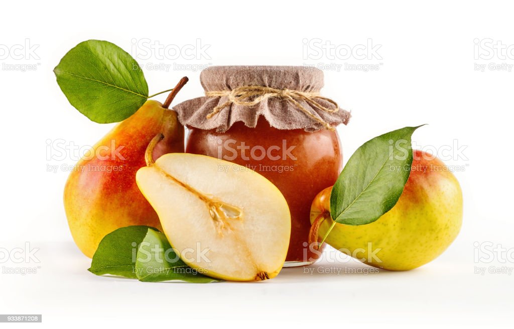 Glass Jar Of Homemade Pear Jam With Fresh Juicy Fruits In