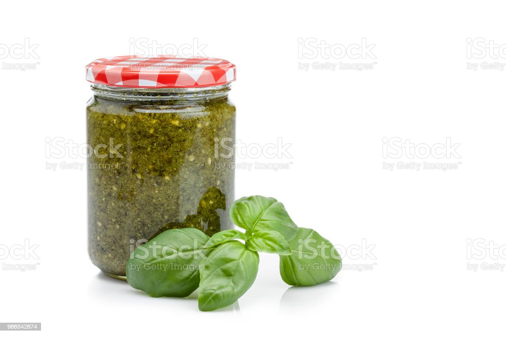 Glass Jar Of Pesto Sauce Isolated On White Background Stock Photo Download Image Now Istock