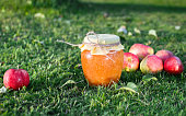 Glass jar with apple jam on the green grass among red and yellow apple fruits in the garden